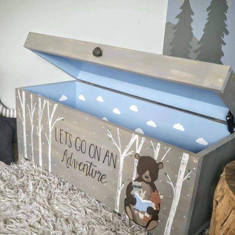 Toys box wooden, gray with а bear illustration
